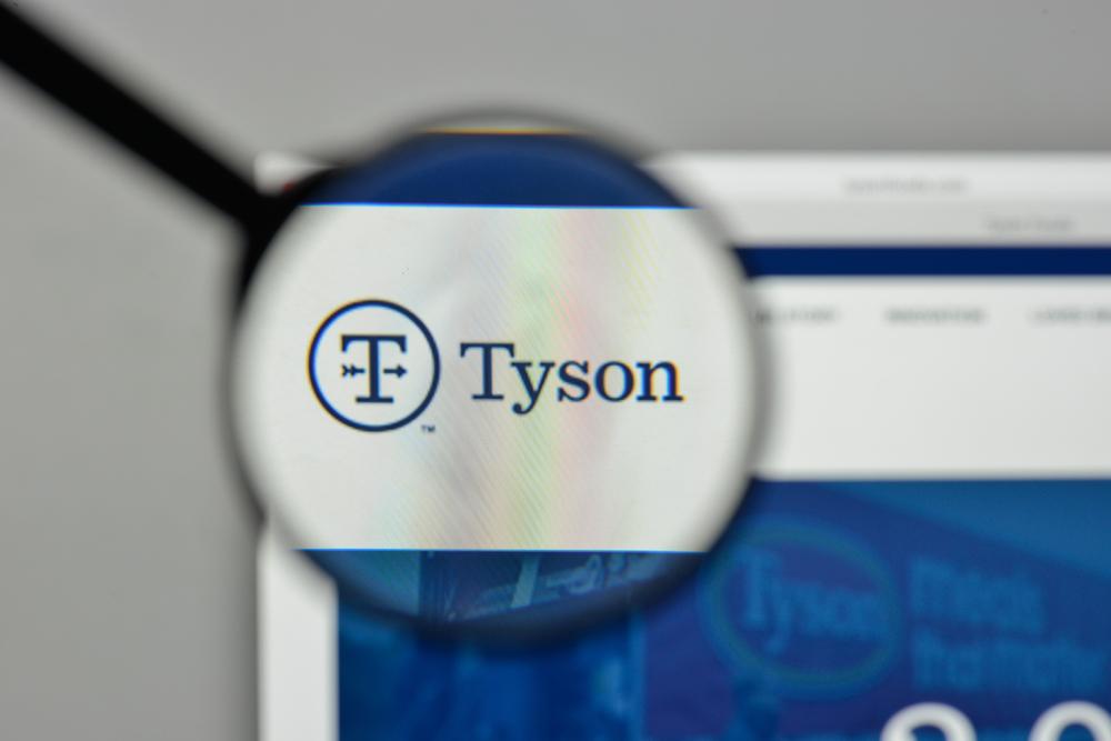 Tyson logo on website seen through a magnifying glass