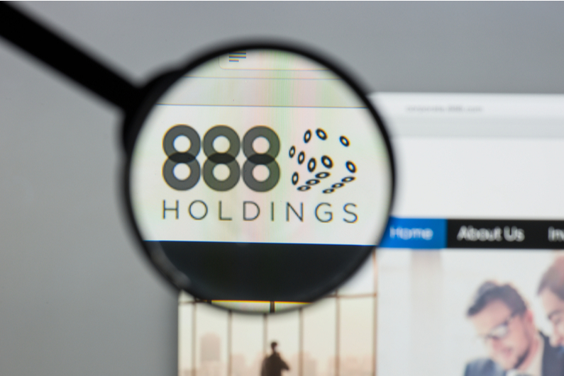 888 Holdings logo under a magnifying glass
