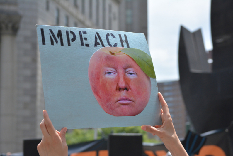 "Protest sign reading ""IMPEACH"" with a picture of Donald Trump's face as a peach"