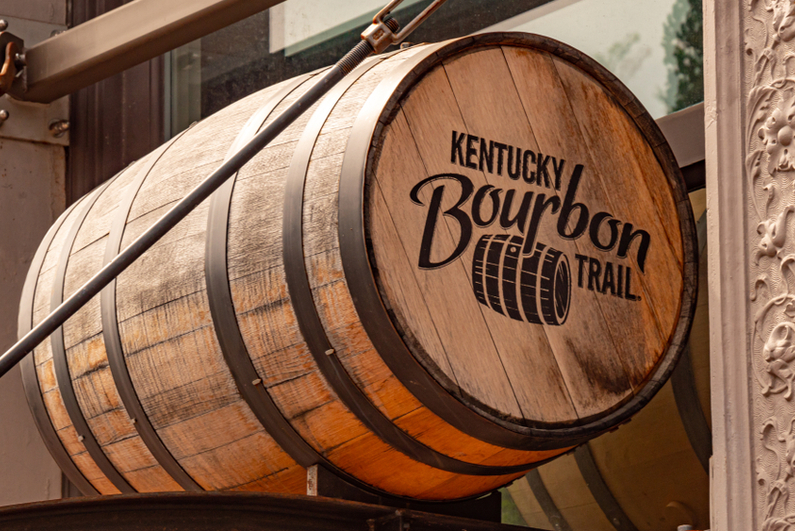 "Barrel labeled ""Kentucky Bourbon Trail"""