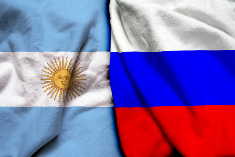 Russia and Argentina flags together
