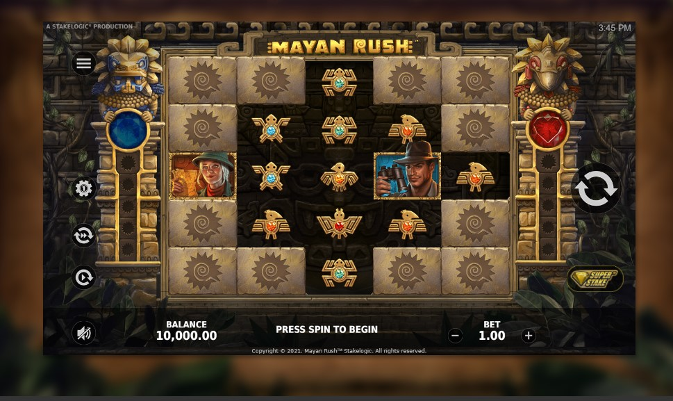 Mayan Rush slot reels by StakeLogic