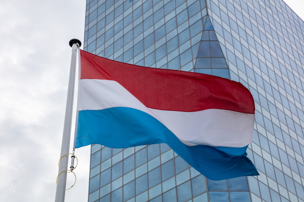 Netherlands flag with skyscraper in the background