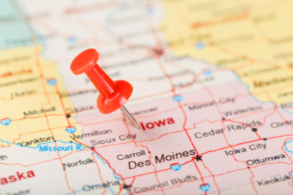 Pinned map of Iowa