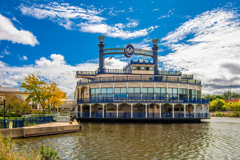 View of the Grand Victoria riverboat casino in Elgin, Illinois