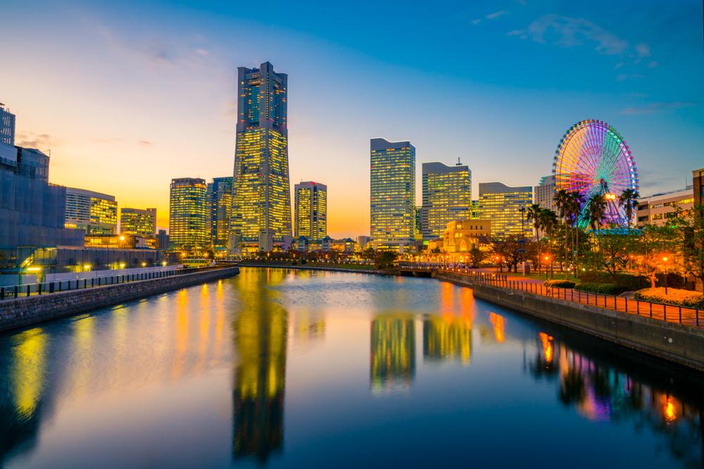 Yokohama city skyline at dusk