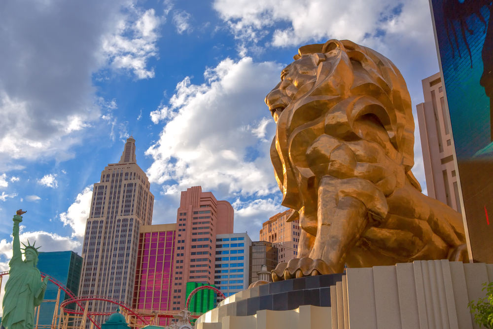 View of the MGM Grand Lion and New York Hotel and Casino on the Las Vegas Strip