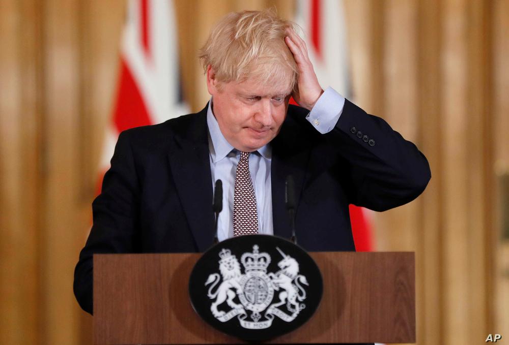 UK Prime Minister Boris Johnson holding a press conference