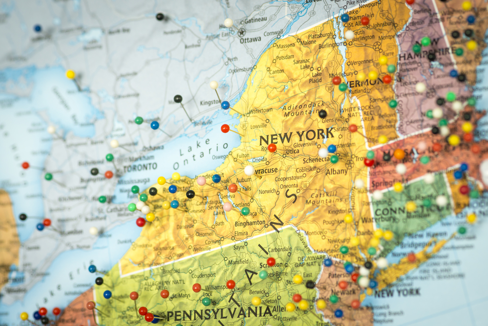 US map zooms in on New York state