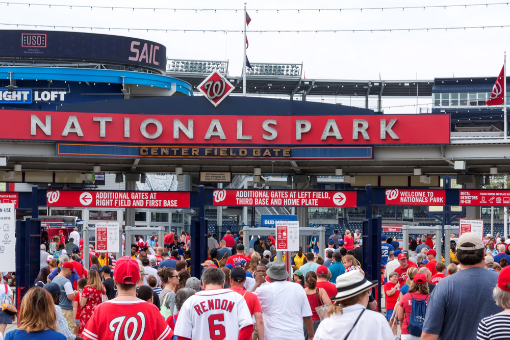 Baseball fans entering the Nationals Park stadium in Washington, DC