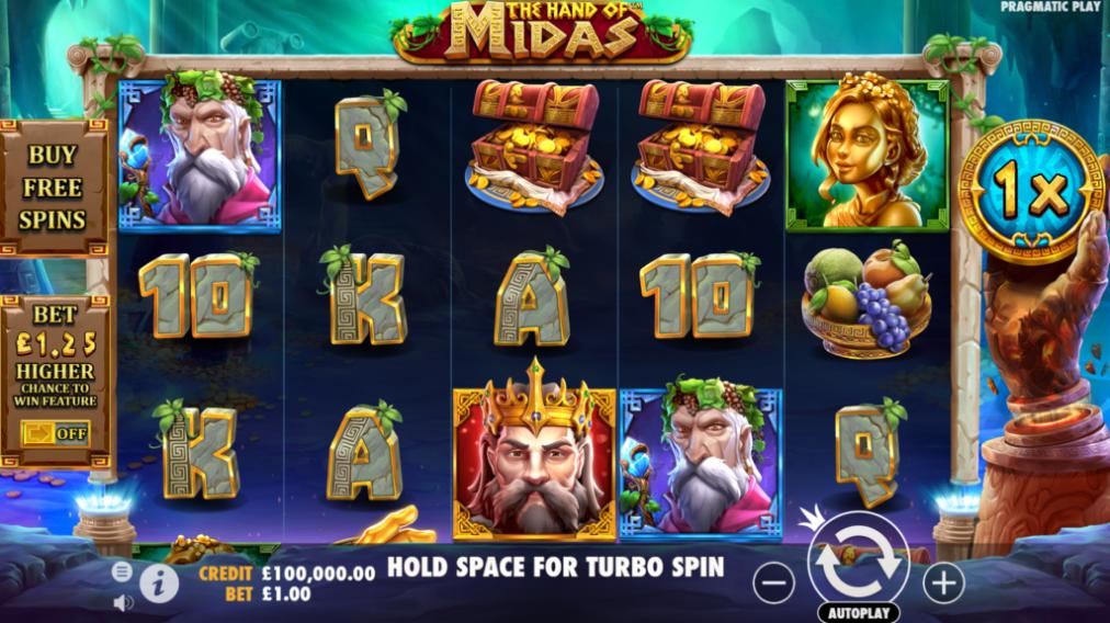 The Hand of Midas slot reels by Pragmatic Play