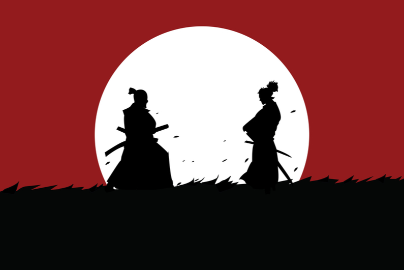 Two samurai facing off in a meadow under the moon