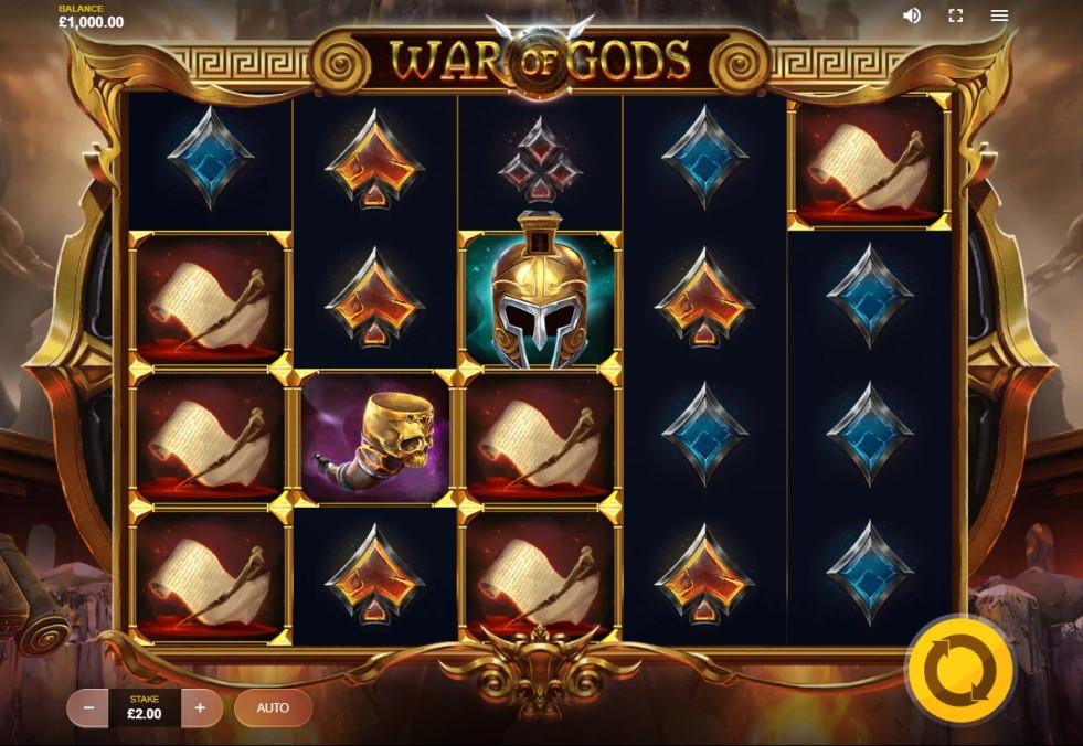 War of Gods slot reels by Red Tiger