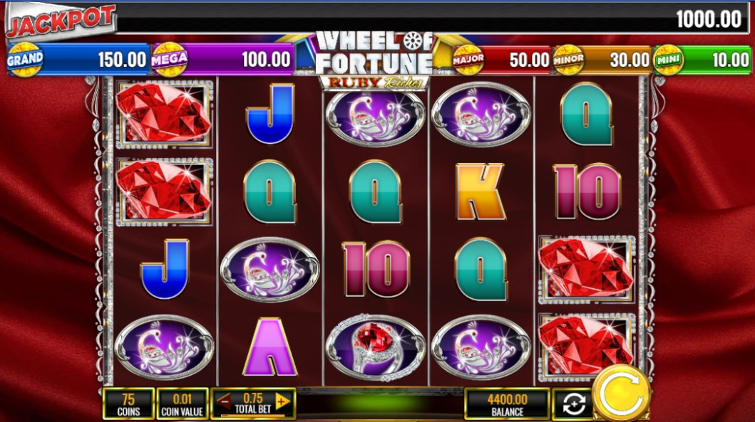 Wheel of Fortune Ruby Riches slot reels by IGT