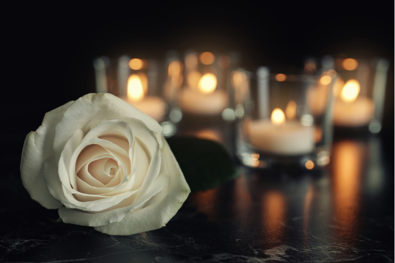 White rose with candles in the background
