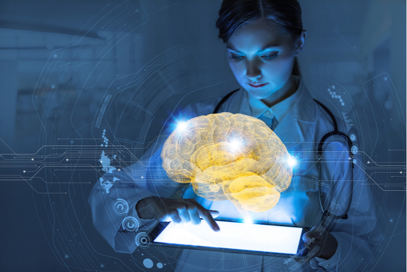 Woman using tablet, 3D brain image rising above screen