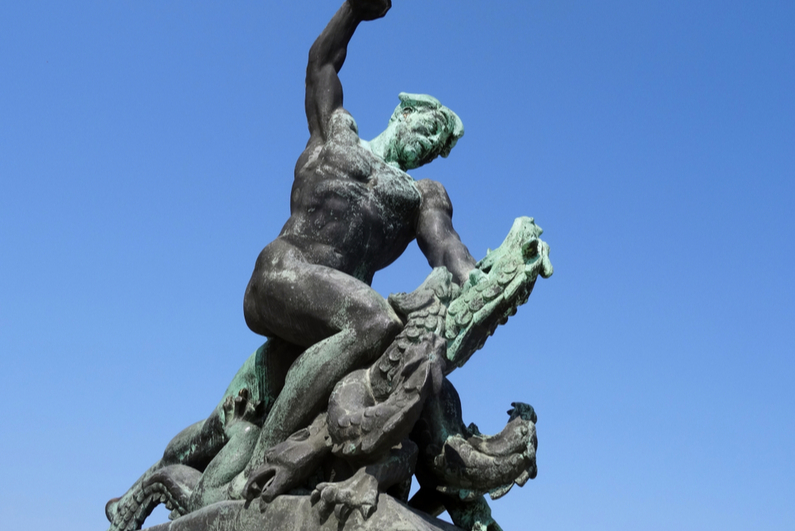 Statue of the Dragonslayer in Budapest