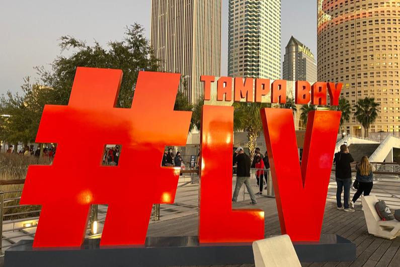 Large Super Bowl LV sign in Tampa, Florida