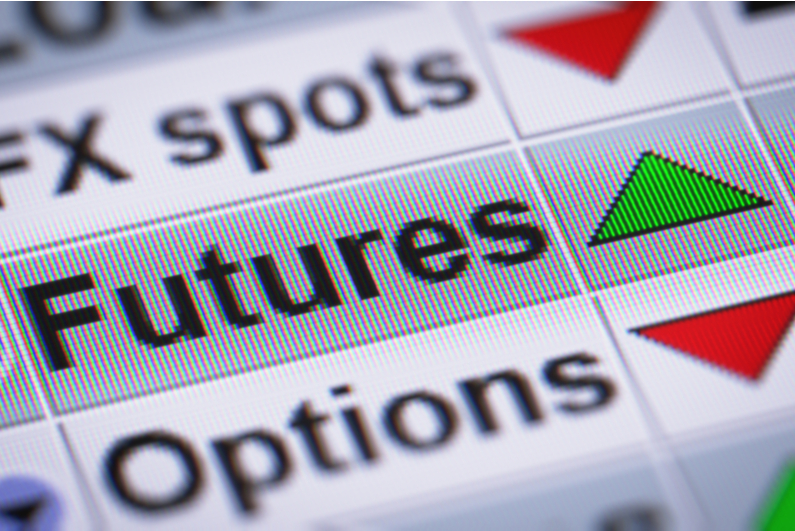 """""""Futures"""" with a green up arrow on a computer screen"""