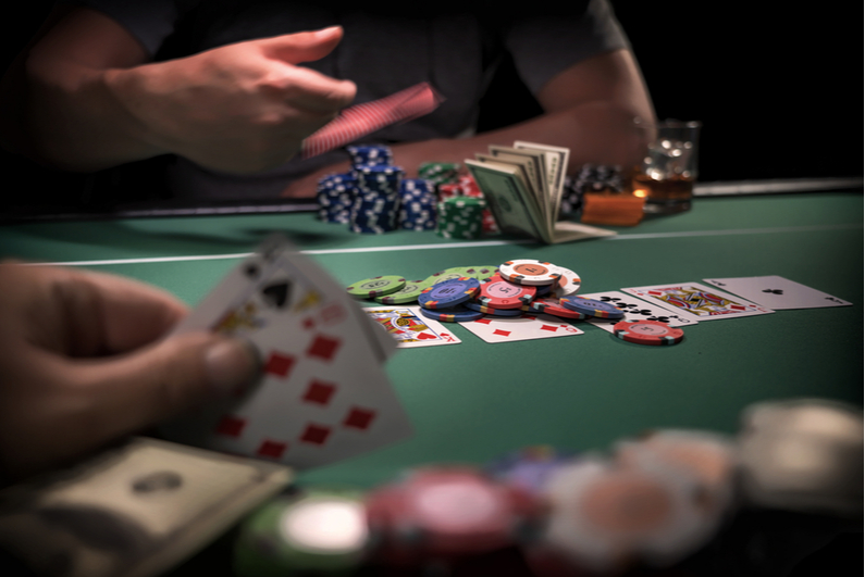 Player folding in a poker game