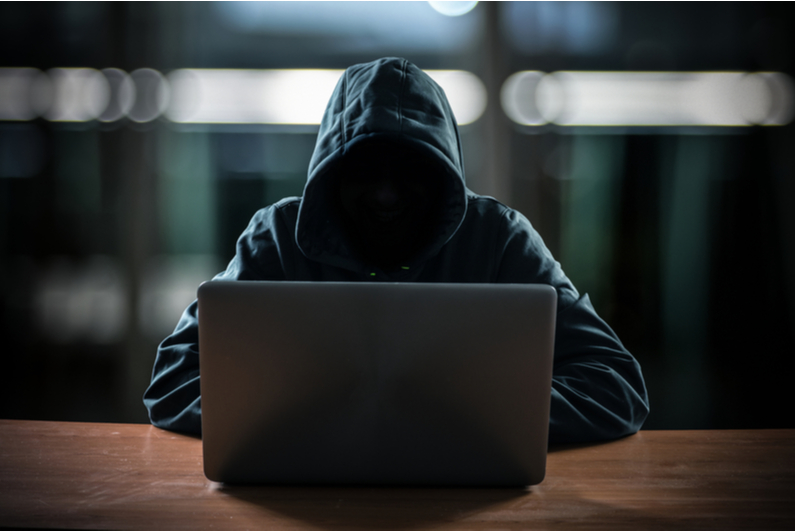 "Hooded ""hacker"" using a laptop"