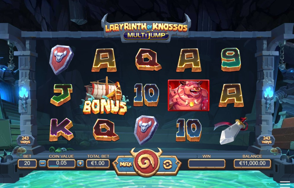 Labyrinth of Knossos: MultiJump slot reels by DreamTech