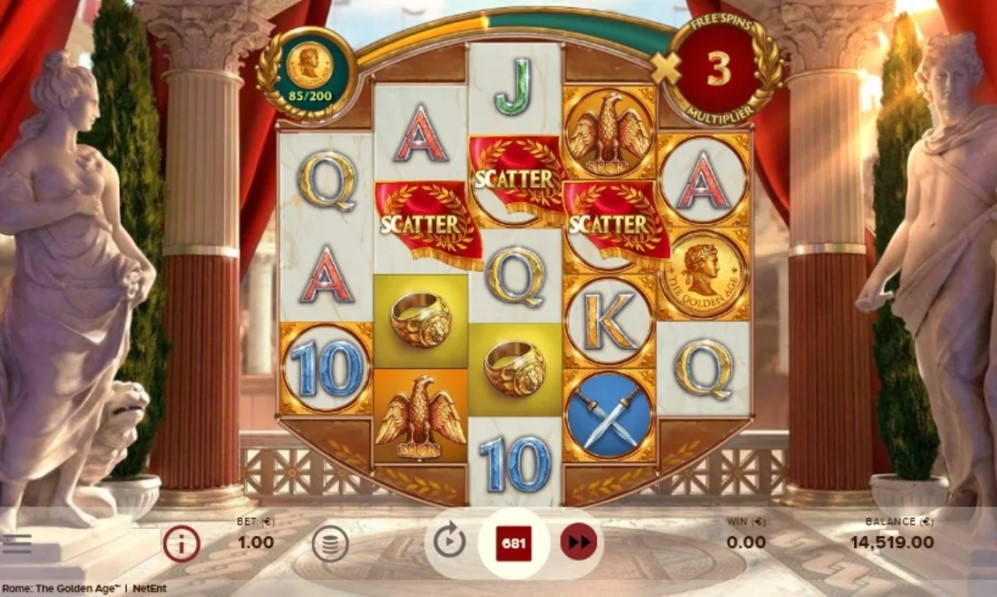 Rome: The Golden Age slot reels by NetEnt