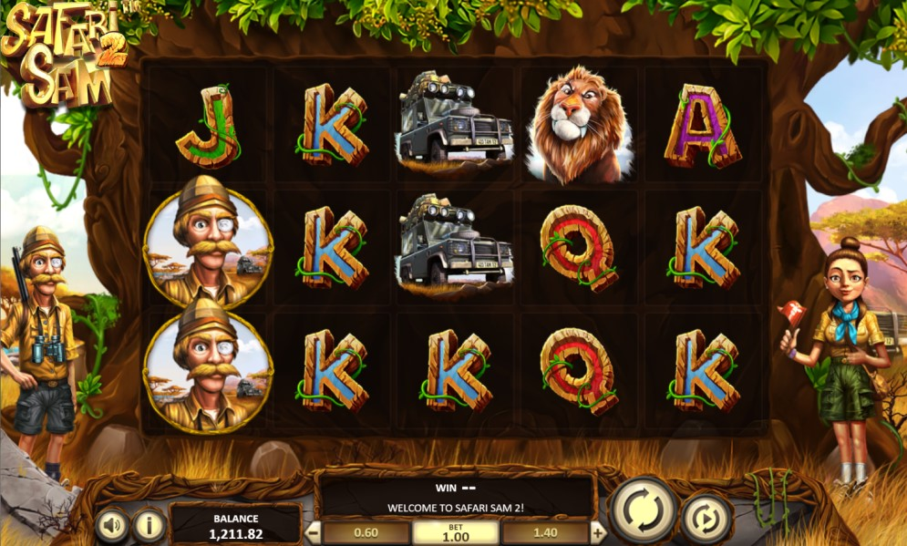 Safari Sam 2 slot reels by BetSoft