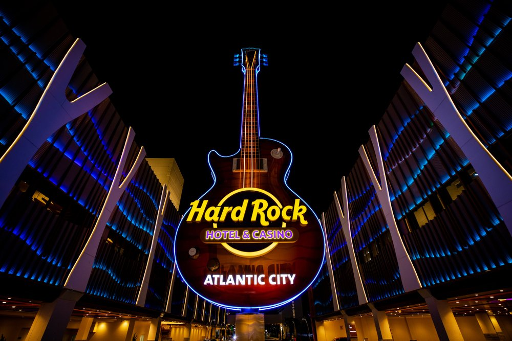 Guitar-shaped sign of the Hard Rock Hotel and Casino Atlantic City