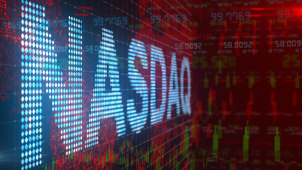 The Nasdaq sign with number and data graphics