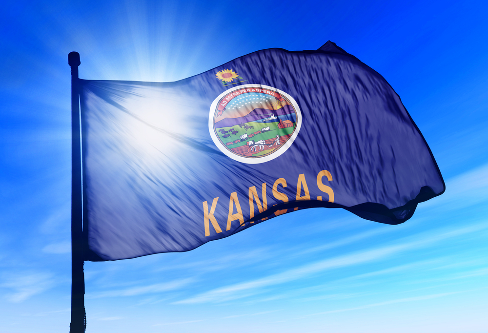 Kansas state flag blowing in the wind