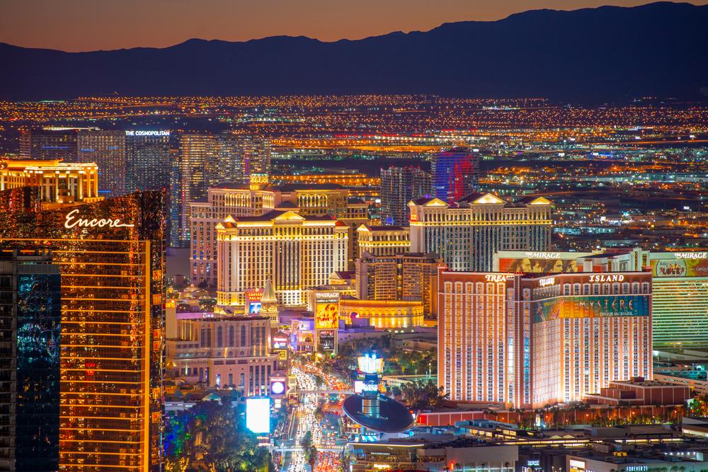 night skyline of resort towers in Las Vegas, Nevada