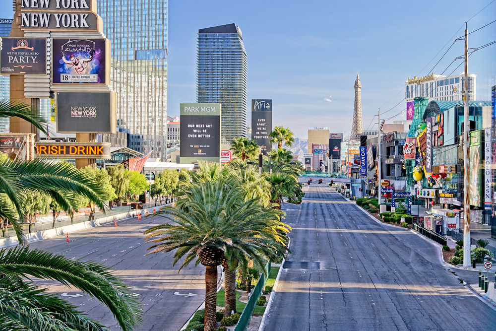 An empty Las Vegas Strip during coronavirus lockdowns