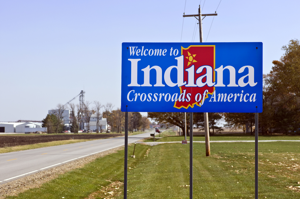 Welcome to Indiana signpost