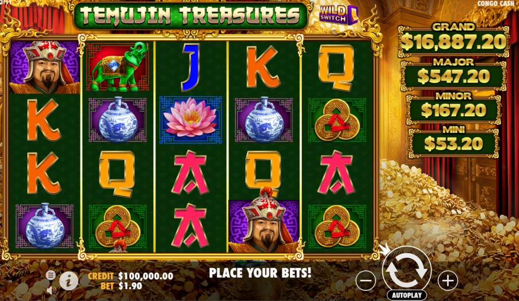 Temujin Treasures slot reels by Wild Streak Gaming