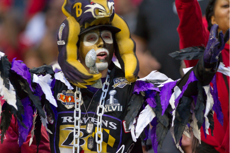 Baltimore Ravens superfan dressed in an elaborate costume
