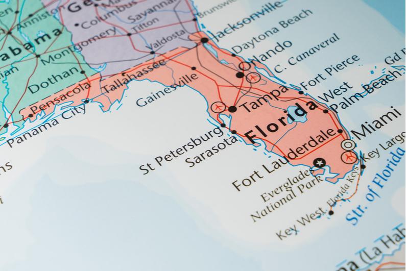 Closeup of Florida on a map