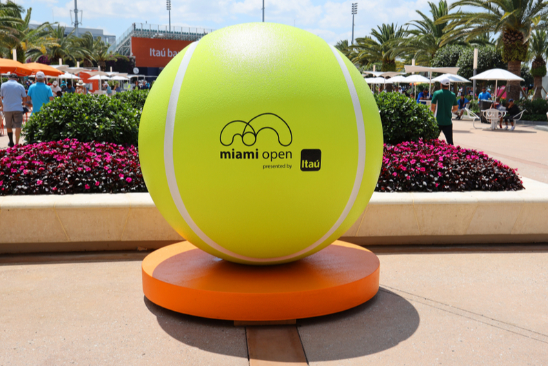 Large tennis ball at Miami Open