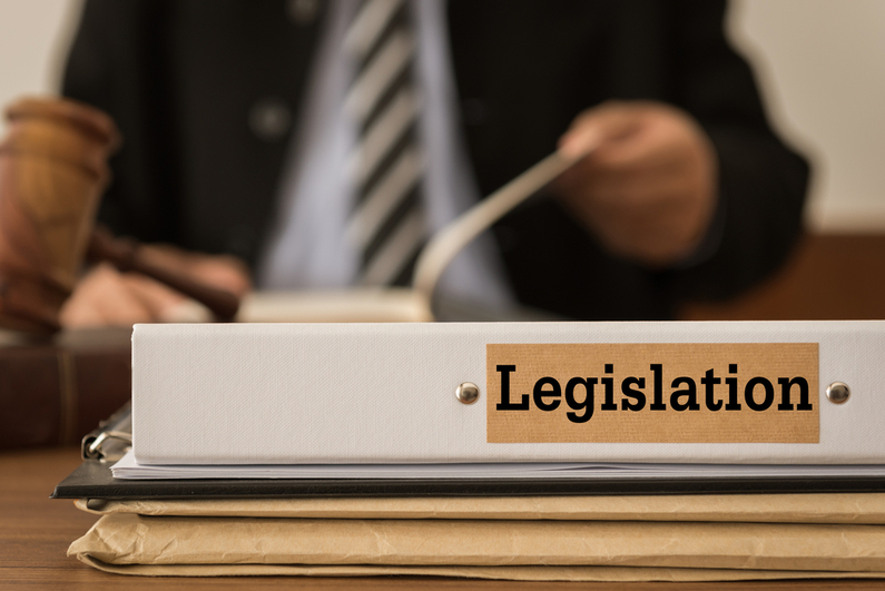 "Man looking over documents with binder labeled ""Legislation"" on the desk"