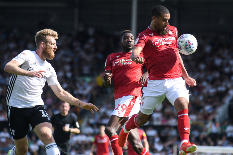 Soccer match between Nottingham Forest, which wears jerseys sponsored by Football Index, and Fulham FC