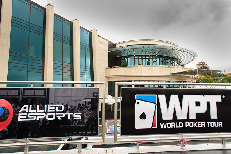WPT and Allied Esports banners outside of an arena