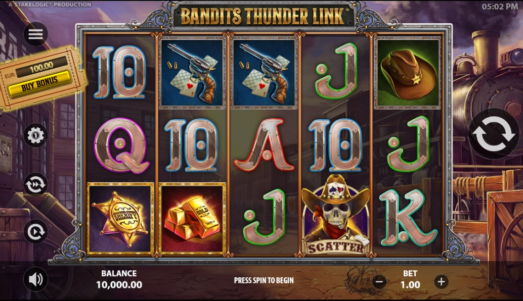 Bandits Thunder Link slot reels by Stakelogic