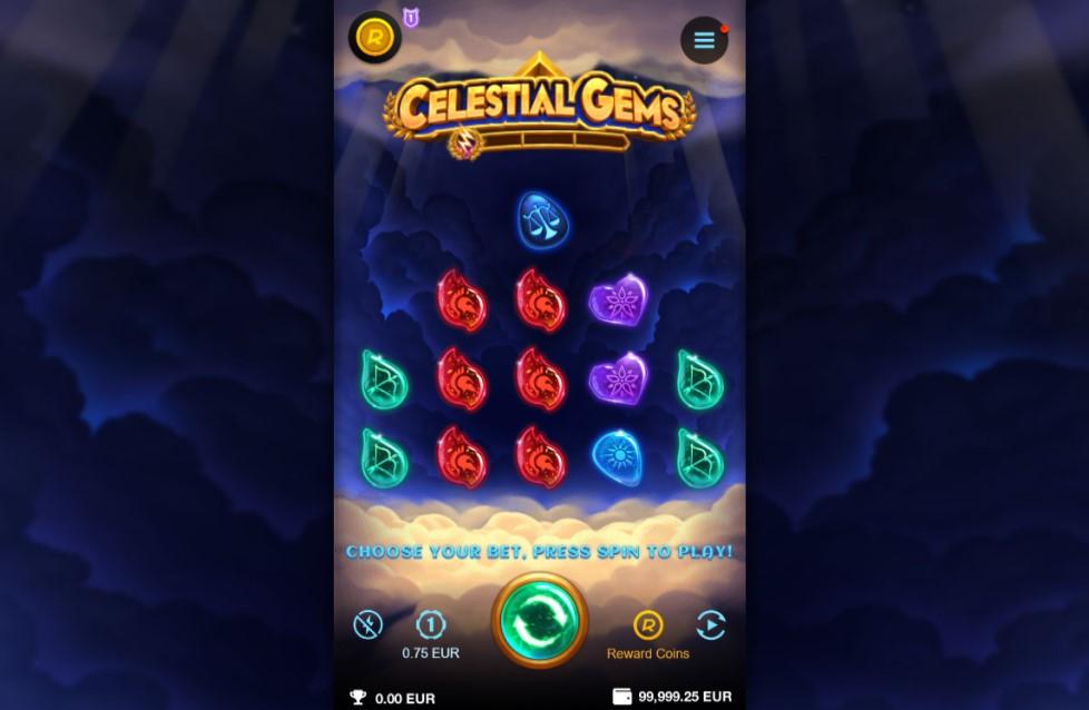 Celestial Gems slot reels by Genesis Gaming