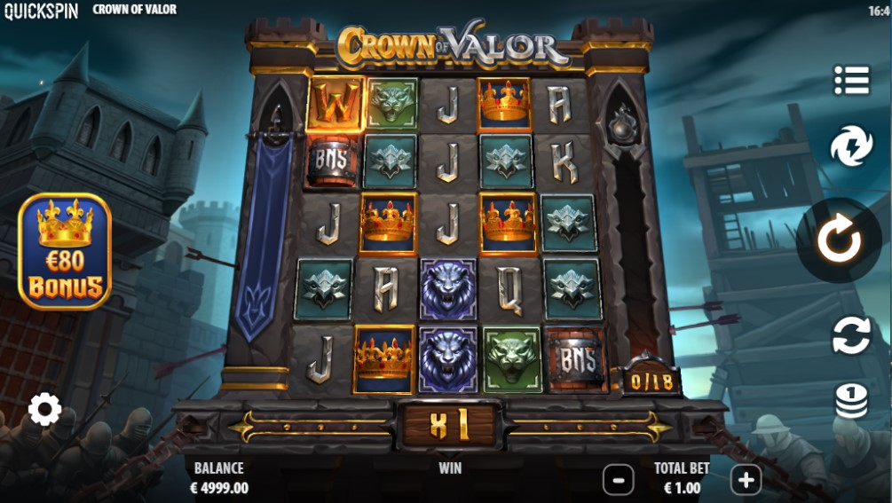 Crown of Valor slot reels by Quickspin