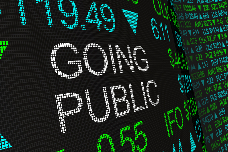 """Stock ticker with """"GOING PUBLIC"""" inserted in the middle"""