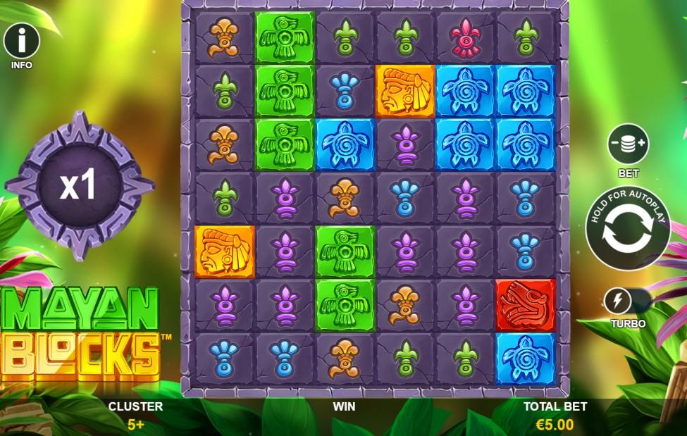 Mayan Blocks slot reels by Playtech