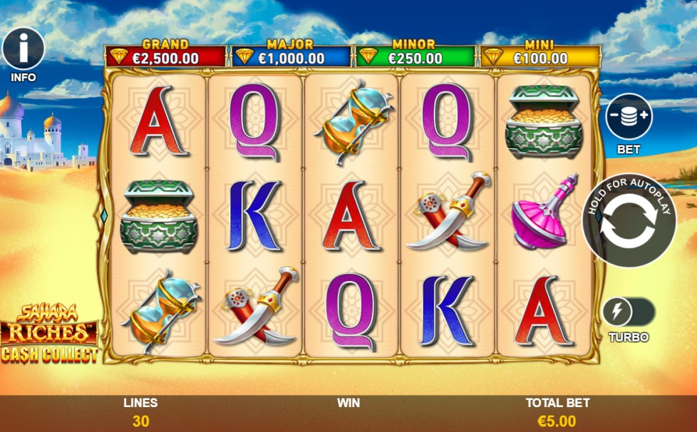 Sahara Riches Cash Collect slot reels by Playtech