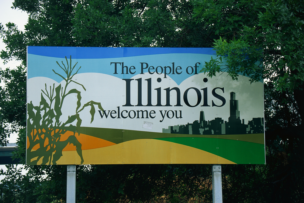 Illinois welcome road sign