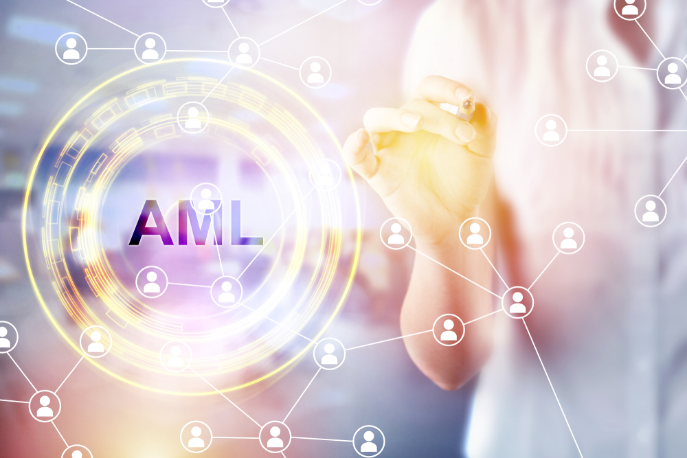 AML checks on virtual screen
