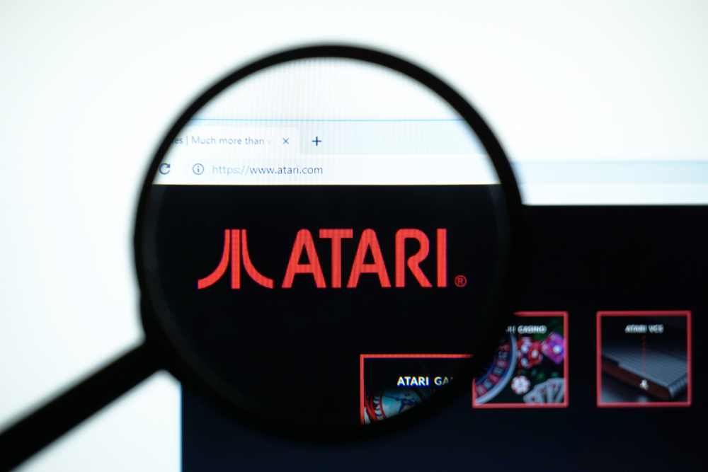 Atari website under a magnifying glass